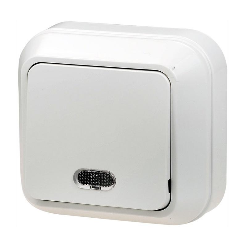 МАКЕЛ Выключатель о/у, 1 клавиша, c индикатором, 10А, 230В, IP20, белый. 45121