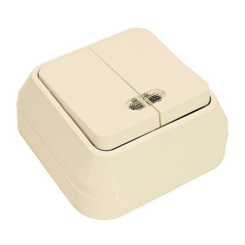 МАКЕЛ Выключатель о/у, 2 клавиши, c индикатором, 10А, 230В, IP20, кремовый. 45223