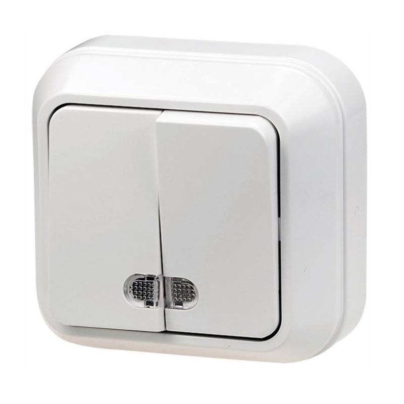 МАКЕЛ Выключатель о/у, 2 клавиши, c индикатором, 10А, 230В, IP20, белый. 45123