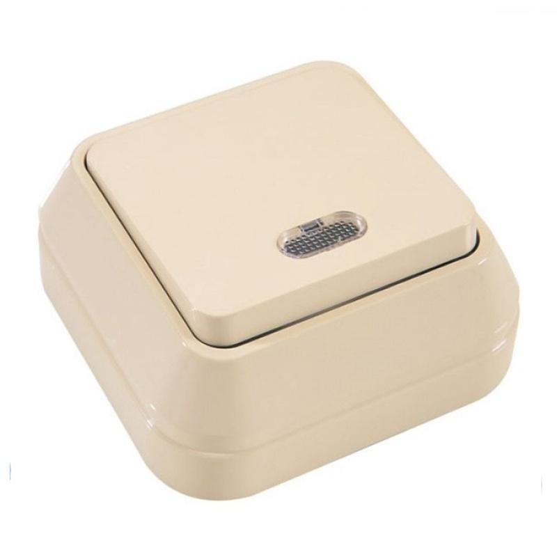 МАКЕЛ Выключатель о/у, 1 клавиша, c индикатором, 10А, 230В, IP20, кремовый. 45221