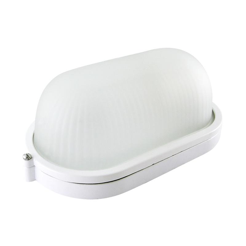 Светильник НПБ Е27, 60Вт, 230В, IP54, овал белый, стекло