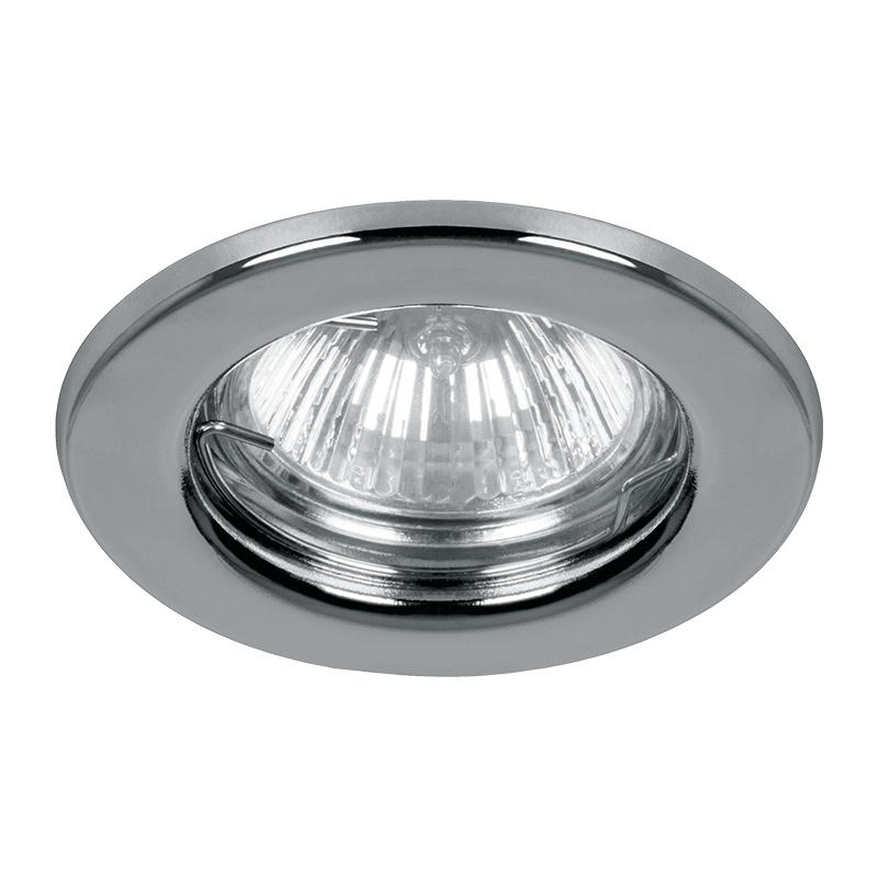 Светильник встраиваемый неповоротный под MR16 круглый G5.3 50Вт, 12/230В, IP20, хром